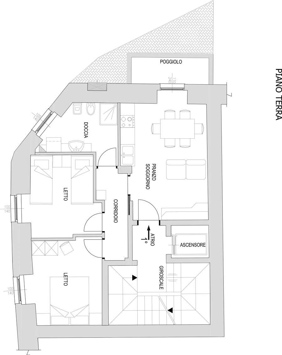 Residenza con 3 appartamenti immobiliare rododendro for Appartamenti con planimetrie